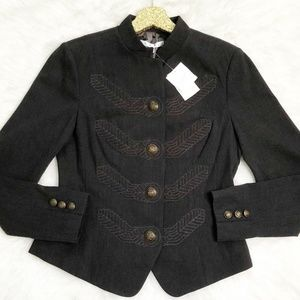 Cabi Military Embroidered Corps Charcoal Blazer